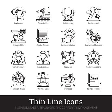 Business leader, teamwork, corporate management thin line icons. Modern linear logo concept for web, mobile application. Businessman, human resources, team building symbols. Outline vector set. Illustration