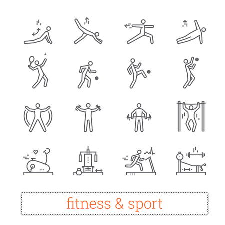Sport, fitness and gym exercise thin line icons. Modern linear logo concept for web, mobile apps. Gym equipment, sports lifestyle, yoga and recreation activity pictogram. Outline vector collection. Ilustração