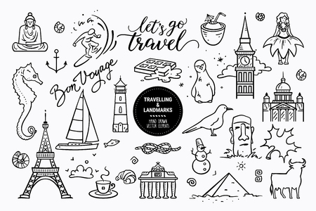 European sights, landmarks all around the world, travel icons, marine cruise icons. Vector collection of hand drawn doodle style clipart illustration places of interest isolated on white background. Illustration