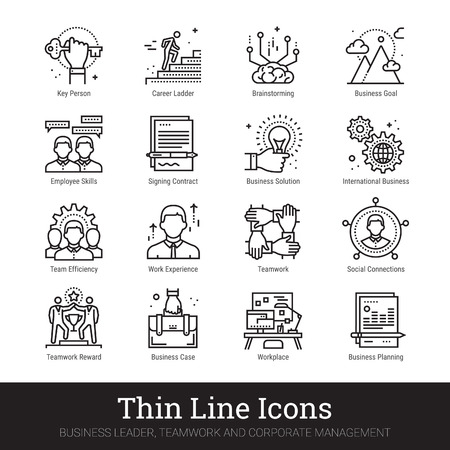 Business leader, teamwork, corporate management thin line icons. Modern linear logo concept for web, mobile application. Businessman, human resources, team building symbols. Outline vector set. Stock Vector - 124951264