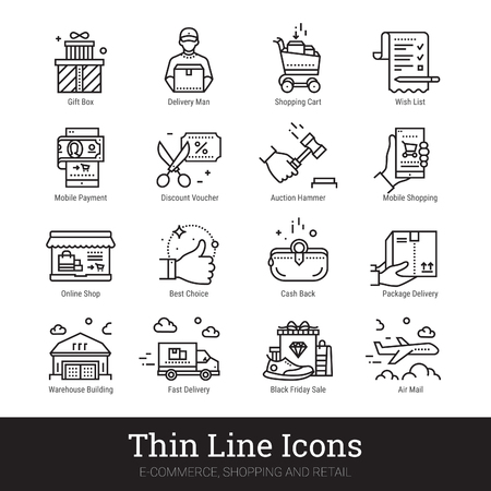 E-commerce, shopping and retail business thin line icons. Modern linear logo concept for web, mobile application. Online shop, delivery service, sales, cash back, wish list symbols. Outline vector set.