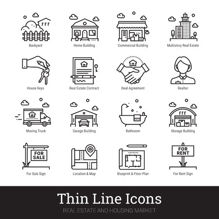 Real estate, city and homes thin line icons. Modern linear logo concept for web, mobile app. House building, commercial property, floor plan, moving service, city map, realty business vector icons set. Ilustração