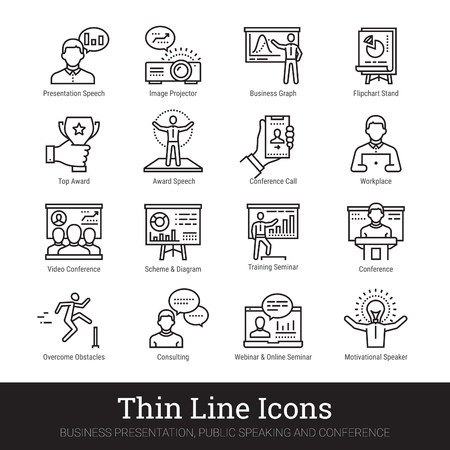 Business presentation, leadership and motivational speech thin line icons. Modern linear illustration concept for web and mobile app. Training seminar, conference speaker person vector icons collection. Ilustração