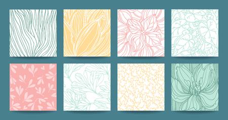 Botanical hand drawn vector textures, floral ornament, herbal pattern, plant ornamentation. Modern multipurpose template set for wedding invitation, business flyer, art poster, business card, banner. Ilustração