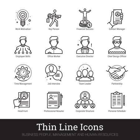Gente de negocios, iconos de línea fina de recursos humanos. Concepto de logotipo lineal moderno para web, aplicación móvil. Gestión, estructura organizativa de los empleados, símbolos de trabajo en equipo. Colección de vectores de contorno. Logos