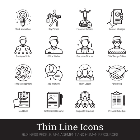 Gente di affari, icone di linea sottile delle risorse umane. Moderno concetto di logo lineare per web, applicazione mobile. Gestione, struttura organizzativa dei dipendenti, simboli del lavoro di squadra. Raccolta di vettore di contorno. Logo