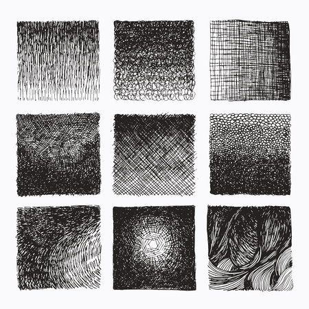 Hand drawn wavy cross hatching gradient textures made with ink. Graphic design template collection. Uneven hatched lines, abstract drawing, organic background, linear graphic pattern. Isolated vector.