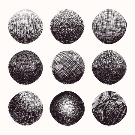 Dibujado a mano texturas de degradado de trama cruzada ondulada hechas con tinta. Colección de plantillas de diseño gráfico. Líneas sombreadas desiguales, dibujo abstracto, fondo orgánico, patrón gráfico lineal. Vector aislado.