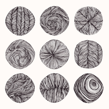 Hand drawn braid, wavy linear textures made with ink. Graphic design template collection. Swirl, curl, wavy stripe, abstract line drawing, organic background, linear graphic pattern. Isolated vector.
