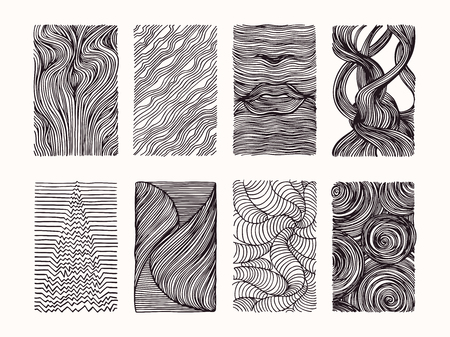 Hand drawn wavy linear textures made with ink. Graphic design template collection. Swirl, curl, wavy stripe, abstract line drawing, organic background, linear graphic pattern. Isolated vector set.