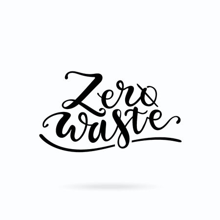 Zero waste lettering. Handwritten ecology motivational phrase typography for t-shirt print, banner, poster, flyer design templates. Waste problem concept. Isolated clipart vector on white background.