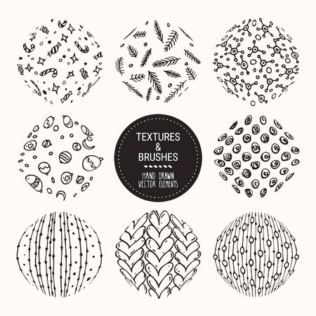 Hand drawn winter holidays textures. Vector clipart collection, knitted pattern, sweater ornament, wrapping paper related to christmas. Round labels set for greeting cards, invitation templates. Illusztráció