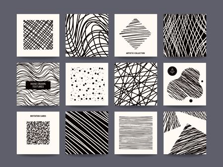 Artistic freehand black and white poster, flyer, social media story, web banner, business card, invitation. Vector design templates collection, hand drawn textures, paint dabs, abstract pattern.