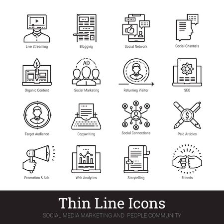 Social media marketing, people community, blogging thin line icons set. Modern linear concept of blog, vlog, social network for web and mobile app. Content making, social marketing, seo vector signs.