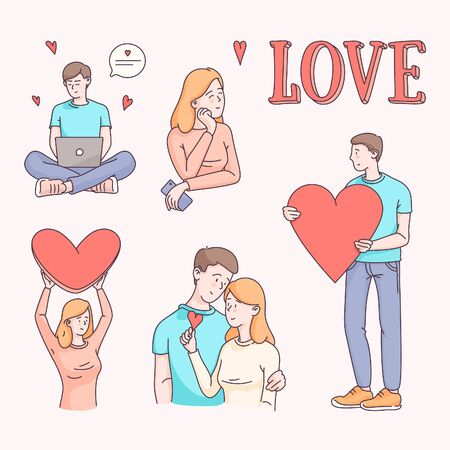 Couple, man and woman characters dating sendig love hearts. Flat style linear clipart vector illustrations collection isolated on background. Wedding invitation, Valentines day card design template.