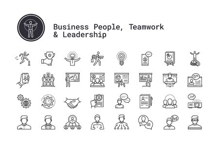 Business people, human resources, presentation, motivational speech thin line icons. Management, employee organization structure, team work, training seminar, conference pictogram for web, mobile app. Ilustracja