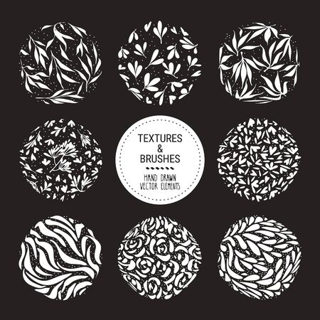 Herbal round pattern, floral ornamentation set. Botanical garden vector textures for logo, organic branding, fashion textile, floral print. Hand drawn plants, flowers, leaves isolated illustration. 矢量图像