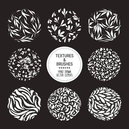 Herbal round pattern, floral ornamentation set. Botanical garden vector textures for logo, organic branding, fashion textile, floral print. Hand drawn plants, flowers, leaves isolated illustration. Ilustração