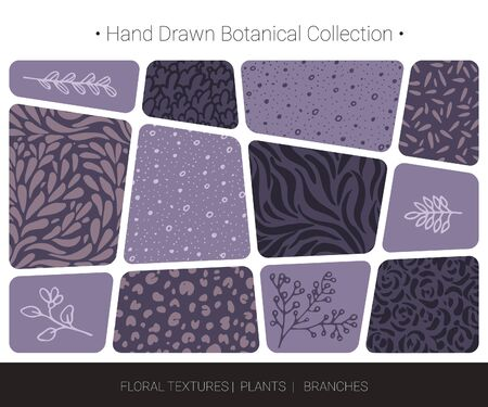 Botanical vector design elements. Hand drawn isolated silhouettes of flowers, weeds, herbs, tree branches, abstract herbal textures. Logo design, organic branding, wedding invitation decor, fashion textile and floral prints isolated on background. Illustration