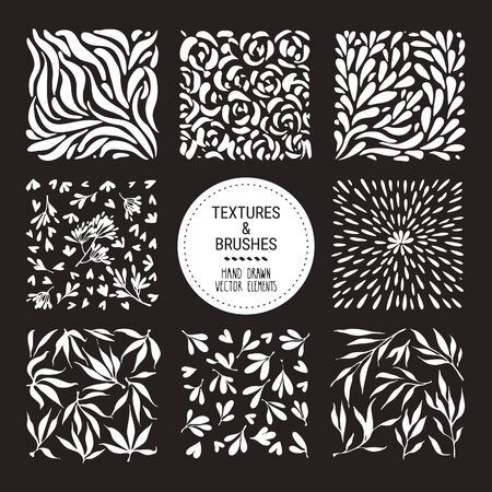 Botanical textures, herbal patterns, floral ornamentation. Hand drawn plant, flower petals, leaves textures. Floral vector clipart collection for organic branding, fashion textile print, invitation. Banque d'images - 149583665