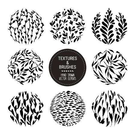 Floral round textures for organic branding, fashion textile, botanical prints. Hand drawn flower herb, plant flower backdrops. Vector botanical patterns collection isolated on white background.