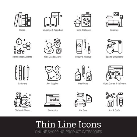 Retail store product categories, e-commerce departments, shopping thin line icons for web, mobile app. Editable stroke. Shop vector set include icons: furniture, appliance, electronics, clothes etc.