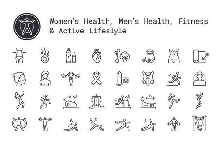 Sport, fitness, gym workout, health thin line icons. Man and woman healthcare, cancer awareness symbols. Exercise machine, sports lifestyle, yoga, recreation activity logo concept for web, mobile apps Ilustracja