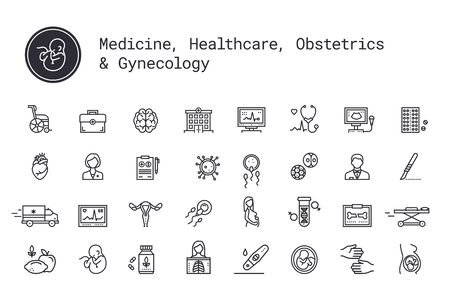Medical services, pregnancy, obstetrics, gynecology thin line icons. Mother, fetus, newborn health. Ambulance, treatment, reanimation, health care equipment. Pictograms for web service and mobile app.