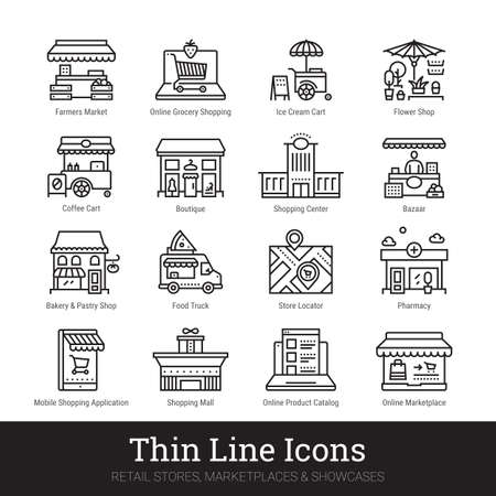 Retail stores, marketplaces, online showcases, shop buildings thin line icons for web, mobile app. Editable stroke. Shop vector set include icons: local market, bakery, bazaar, boutique, shopping mall