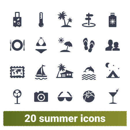Summer vacation, traveling and tourism icons. Collections of recreation, summer holidays, family trip and sea voyage symbols. Design elements for web and mobile apps. Isolated on white background.