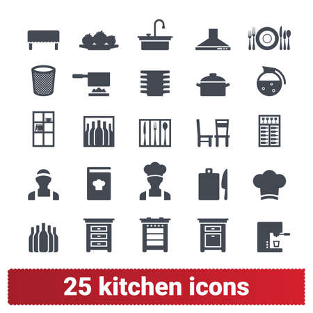 Kitchen and cooking icons. Vector collection of home, public catering, restaurant symbols. Appliance, furniture and cookware. Design elements for web and mobile apps. Isolated on white background.