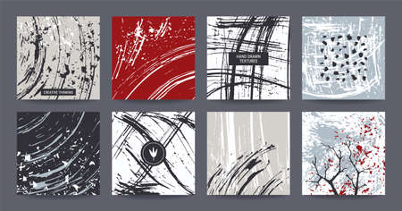 Creative freehand colorful templates: poster, art flyer, modern invitation, birthday, wedding card, web banner. Artistic collection: hand drawn abstract textures, paint dabs, smears. Grey shades. Illusztráció