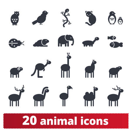 Animal icons. Cartoon zoo illustration collection. Vector set of simple silhouettes of wildlife animas, birds, insects, birds and domestic pets. Isolated on white background.