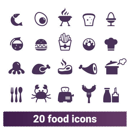 Food, restaurant dishes, yummy meals vector icons set. Pictogram collection of cooking, served dishes, food, pastries and drinks. Isolated on white background. Векторная Иллюстрация