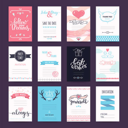 Wedding, Valentines day, birthday party, anniversary, invitation, greeting cards. Design templates with hand drawn illustrations, lettering. Pastel colored vector collection isolated on background.