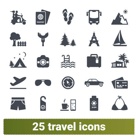 Travel, tourism, transport vector icons. Collcection of road trip, summer holidays, landmarks, vacation, sea journey pictogram. Design elements for web and mobile apps. Isolated on white background.