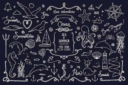 Sea life, ocean trip, summer marine cruise, summertime doodles, lettering. Big collection of hand drawn illustration. Lighthouse, octopus, anchor, jellyfish, cordage frame. Vector clipart collection.