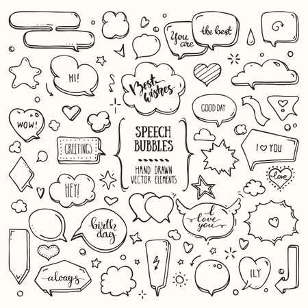 Think, talk speech bubbles with love messages, birthday congratulations, greetings. Hand drawn doodle style comic balloon, cloud, heart shaped design elements. Isolated vector set on white background.