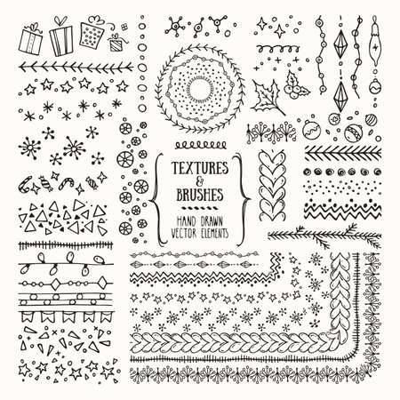 Hand drawn textures and brushes collection. Design elements, winter holiday symbols, christmas party, geometric tribal textures, cute patterns made with ink.