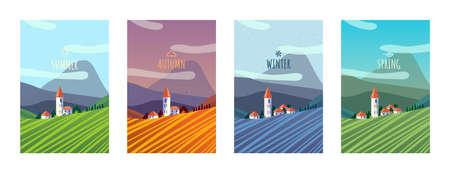 Four season in rural area landscape 矢量图像