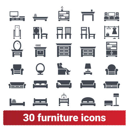 Furniture and home interior accessories icons. Hallway, dining, living room, bedroom, home office simple illustrations. Vector pictograms for web and mobile app isolated on white background.
