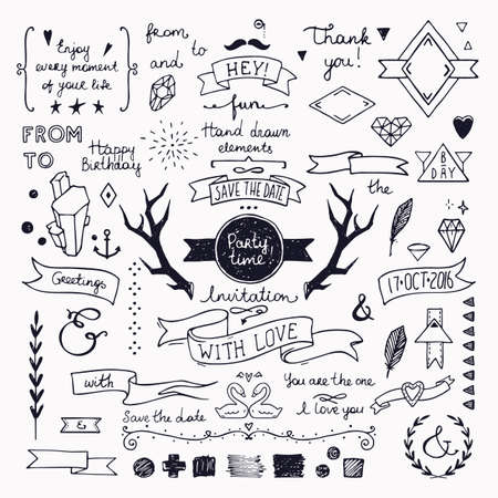Hand drawn hipster doodle collection for wedding invitations, birthday, greeting cards design. Frames, deer horns, ribbons, arrows, branches and other festive attributes. Isolated on white background.