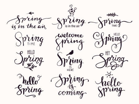 Hello Spring inspirational handwritten lettering, springtime symbols. Modern brush calligraphy and artistic design elements for greeting card, invitation, poster, flyer templates. Isolated vector set.