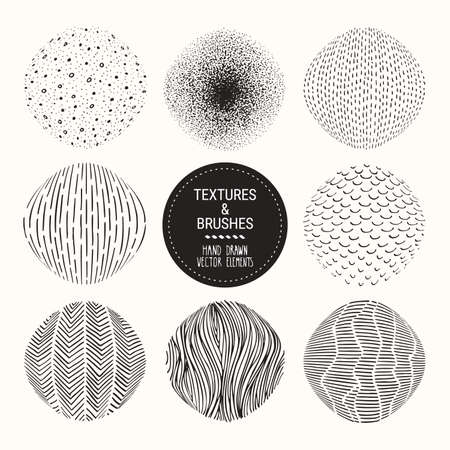 Hand drawn round textures. Clipart collection of tiles, dots, bubbles, brush strokes, dabs, wavy lines, abstract backgrounds, stippling patterns made with ink. Vector set isolated on white background.