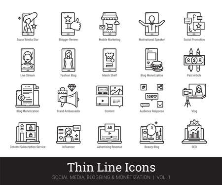Social Network, Blogging, Monetization Thin Line Icons. Vector Clip Art Collection Isolated On White Background