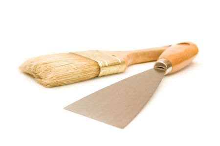 putty knives: Paintbrush and putty knife isolated on white background Stock Photo