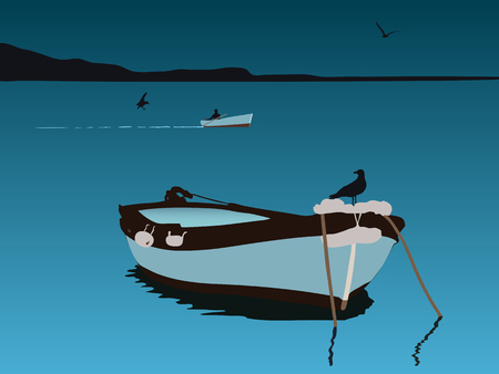 fishing boat at night, vector illustration