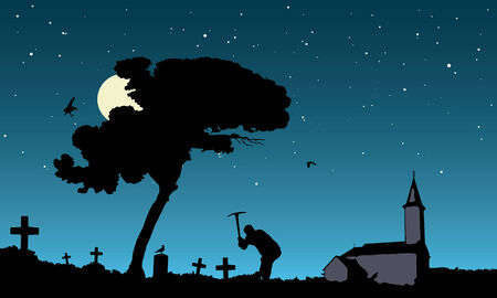 vector illustration of grave robbing in the moonlight Vector