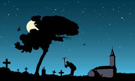 robbing: vector illustration of grave robbing in the moonlight Illustration