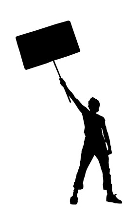 riot: young man holding a blank sign, vector illustration